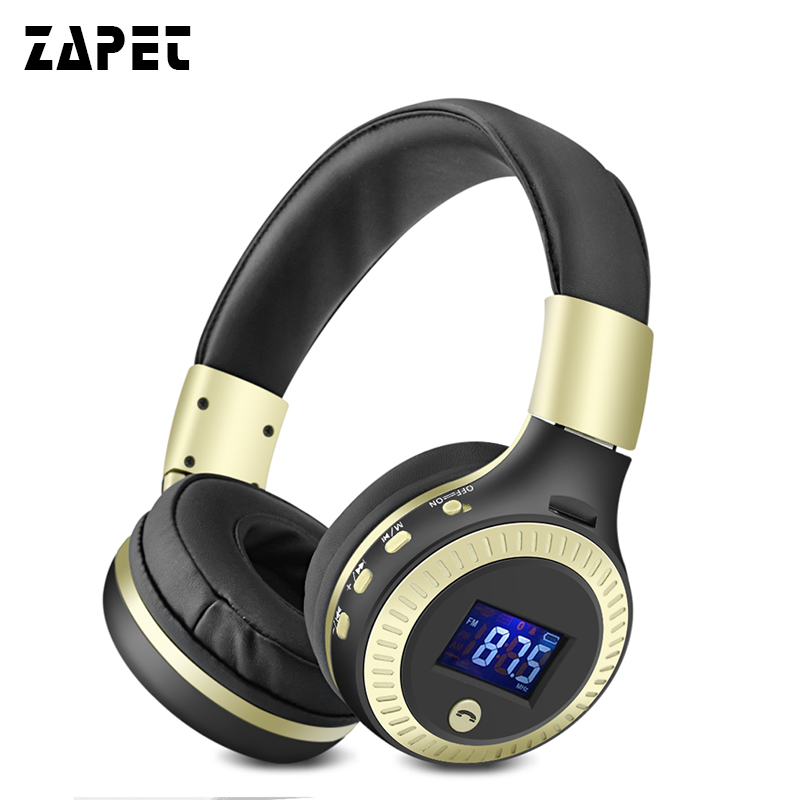 ZAPET B19 Bluetooth Headphones  Wireless Headsets Stereo HIFI BASS Earphone with Mic Micro-SD Card Slot Support FM Radio lexin 2pcs max2 motorcycle bluetooth helmet intercommunicador wireless bt moto waterproof interphone intercom headsets