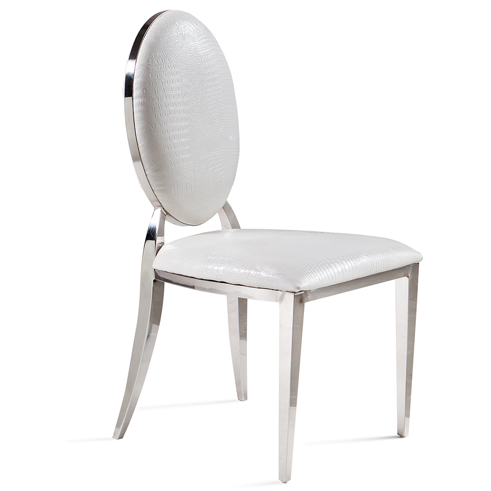Modern stainless steel dining chair European chair cloth fabric ...