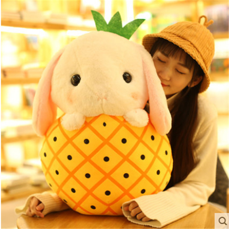 Kawaii Fruit Long Ear Rabbit Plush Toy Baby Doll White Lop Birthday Gift Female Juguetes Brinqueos
