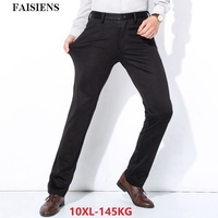 Мужские флисовые плотные брюки больших размеров 9XL 10XL, теплые брюки, формальные эластичные зимние деловые прямые брюки 48 50 52