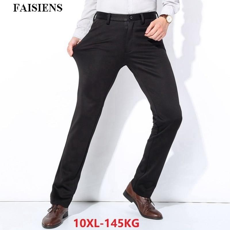 Men Fleece Thick Suit Pants Plus Large Size Big 9XL 10XL Warm Trousers Formal Elasticity Winter Business 48 50 52 Straight Pants