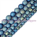 Free Shipping 8mm-14mm Round Light Blue Metallic Coated Druzy Agate Gem Stone For DIY Necklace Bracelet Jewelry Making Beads 15""