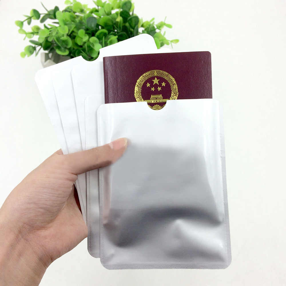 5Pcs/Lot Passport Secure Sleeve Holder Anti Scan RFID Blocking Protector Cover Plastic White Soft Trunk No Zipper Card Protector