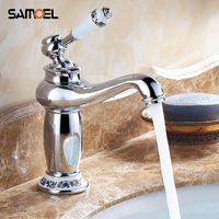 Chrome Faucets Bathroom Sink Basin Porcelain Brass Faucet Mixer Tap Single Handle Torneira Hot and Cold Taps 1134C