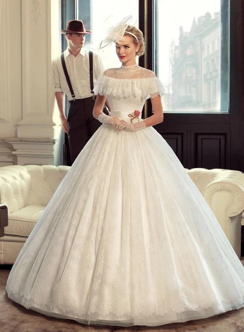 Jazz Vintage Wedding Dresses Elegant High Neck Lace A Line 18's ...