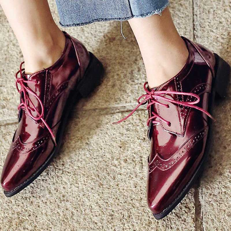 Spring-Retro-Splice-Leather-Woman-Oxford-Shoes-British-Style-Vintage-Cut-Outs-Flat-Shoes-Casual-Bullock