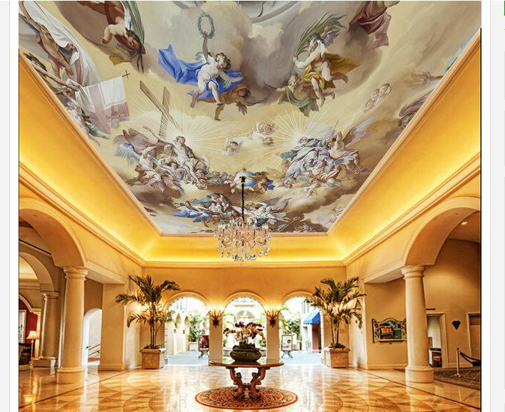 3d wallpaper customized ceiling wallpaper murals Angel playing map zenith ceiling mural decoration style home decoration