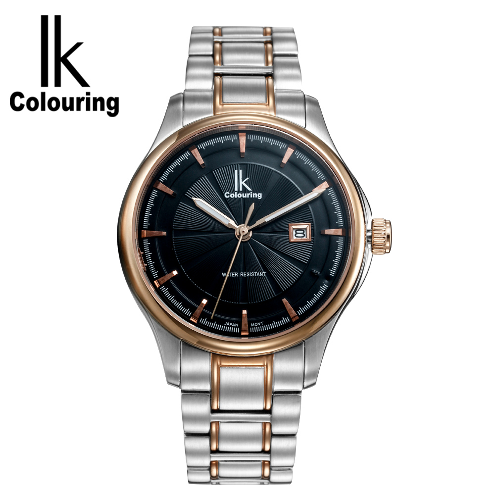 IK Colouring Fashion Watch Stainless Steel Lovers Luminous Hands Quartz Wristwatch Male and Lady Watches men wallets leather bifold purse with coin pocket black brwon wallet men card cash holder bag multifunction wholesale price