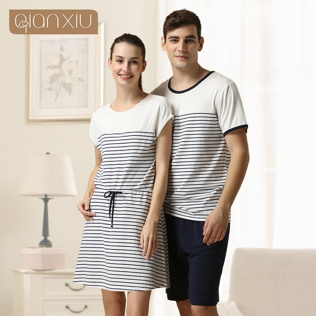 2016 Special Offer Sale Sashes Striped Gecelik Qianxiu Brand Lingerie Girl Sexy Sleepshirts Cotton Nightgown Kintted Underwear