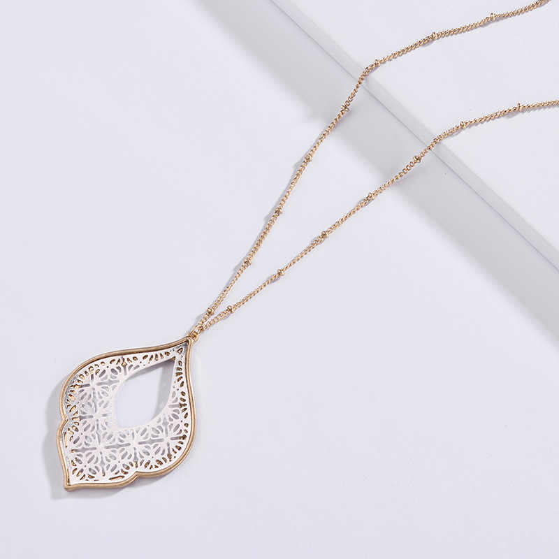 2018 New Gold Filigree Morocco Teardrop Necklace for Women Trendy Two Tone Geometric Statement Long Necklace Jewelry Wholesale