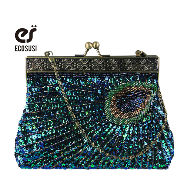 ECOSUSI 2017 Women's Crystal Handmade Evening Bag Beaded Clutch Bags Wedding Diamond Beaded Bag Rhinestone Small Shoulder Bags