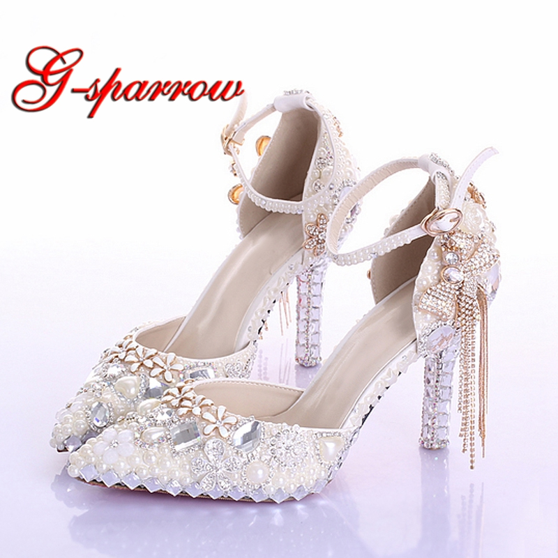 Pointed Toe Ankle Strap Boots Bridal Shoes Ivory Pearl Wedding Party Dress Shoes Rhinestone Pumps for