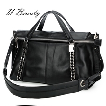 цена на U Beauty Top quality genuine Cow Leather women fashion handbag Cowhide metal chain chic zipper tote bag UBHX0002