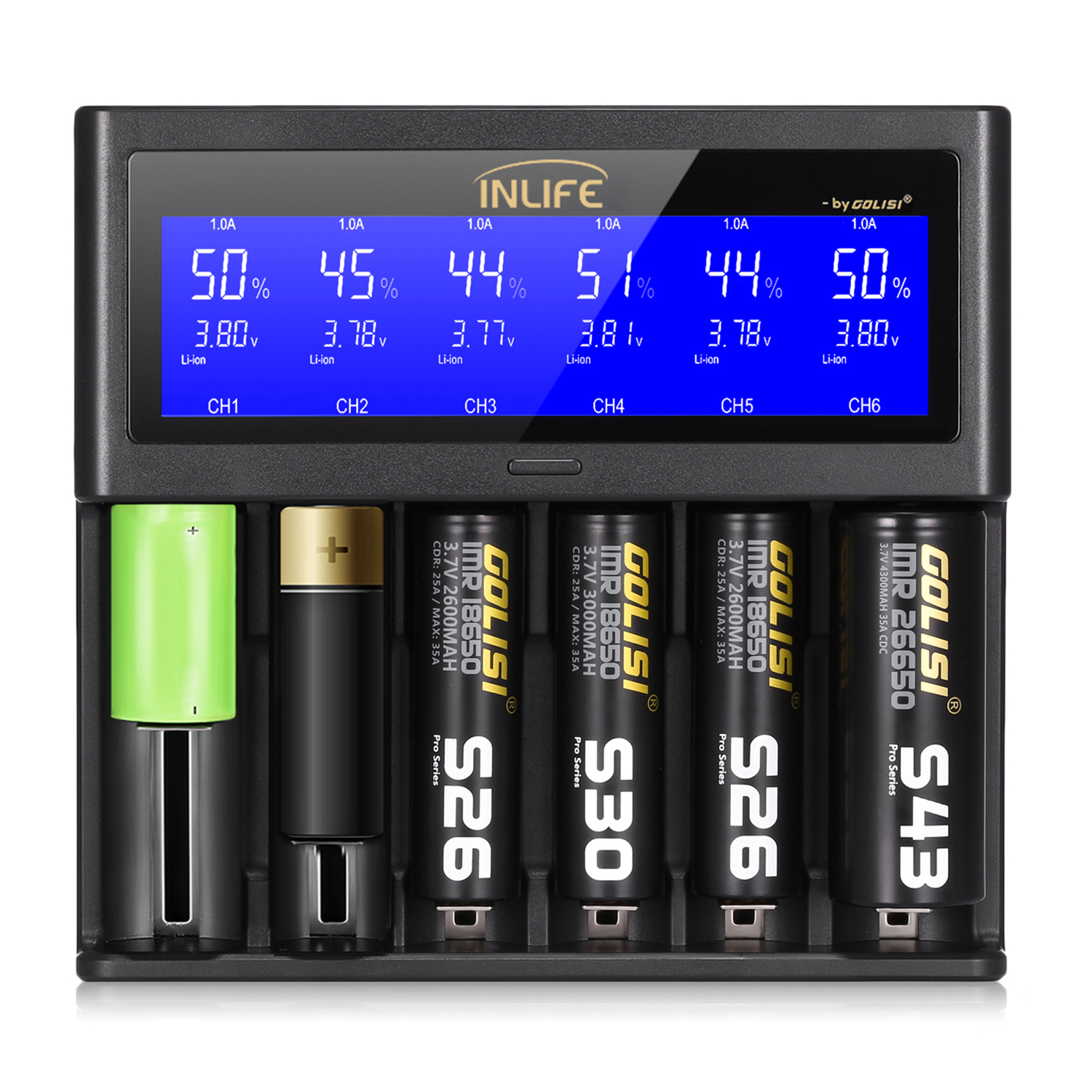Golisi Inlife S6 2A 1A 0.5A Smart Battery Charger LCD Screen Rechargeable Lithium-ion / NiMH / NiCd