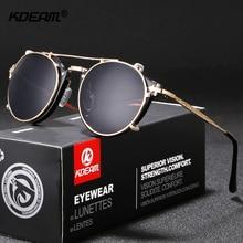 KDEAM Steampunk Clip On Sunglasses Men Round Sun Glasses Wom
