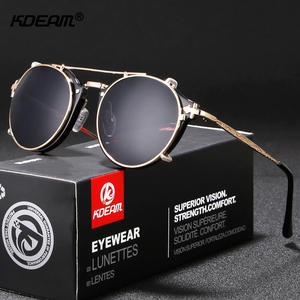 KDEAM Steampunk Clip On Sunglasses Men Round Sun Glasses Women Baroque Carved Legs All-matching Size With Box