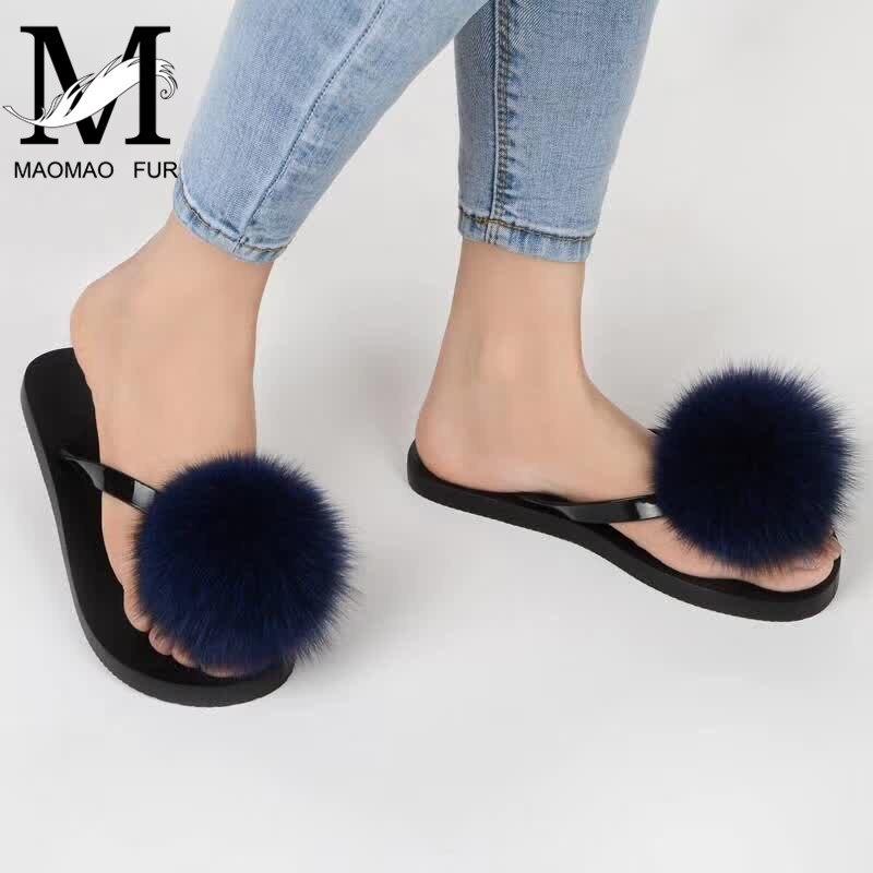 Women Fox Fur Pom Pom Slippers Summer