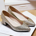 AIWEIYi Обувь Женщина Новая Мода Острым Носом Блестками Толстая Высокие Каблуки Платформы Насос Обувь Скольжения на Обувь для Женщин 34-43