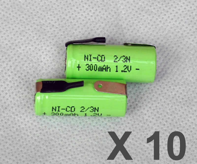 10PCS 1.2V 2/3N rechargeable battery 300mah 2/3 N ni-cd nicd cell with tab pins for elec ...