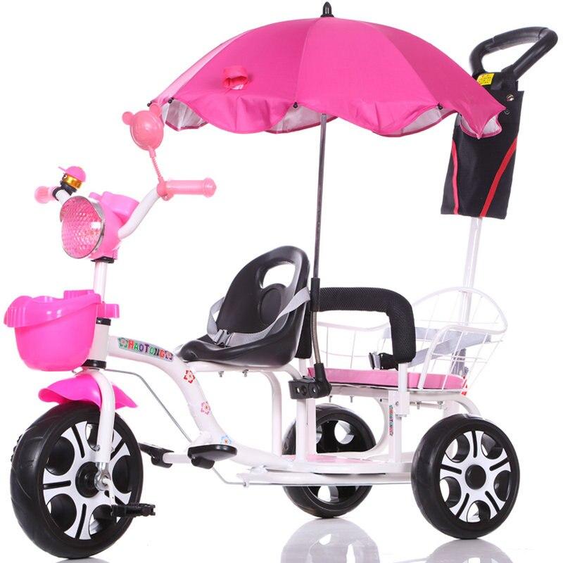 12-дюймовый детский трехколесный велосипед, близнецы велосипед ребёнка выпуска 2 сиденья со складками на педаль тандем трехколесный велосипед с резиновая надувная подушка безопасности для колеса и стальная рама - Цвет: 170
