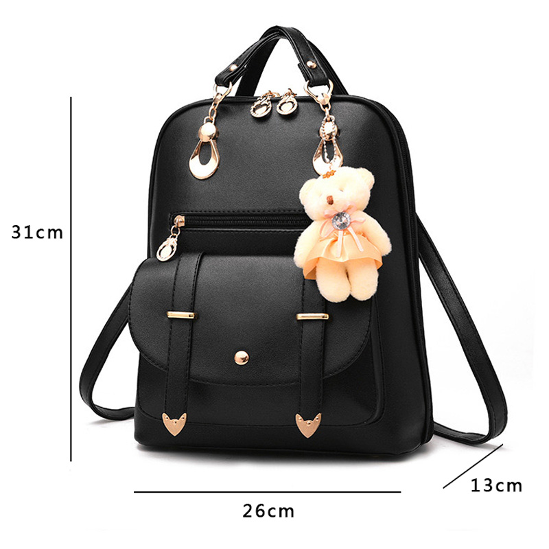 76841ac176a9 GZ-LY-GJT Bear Backpack Female School Bags For Girls Backpacks For Women  Bag Travel Shoulder Bags sac a main PU Leather Backpack 127.4 ₪
