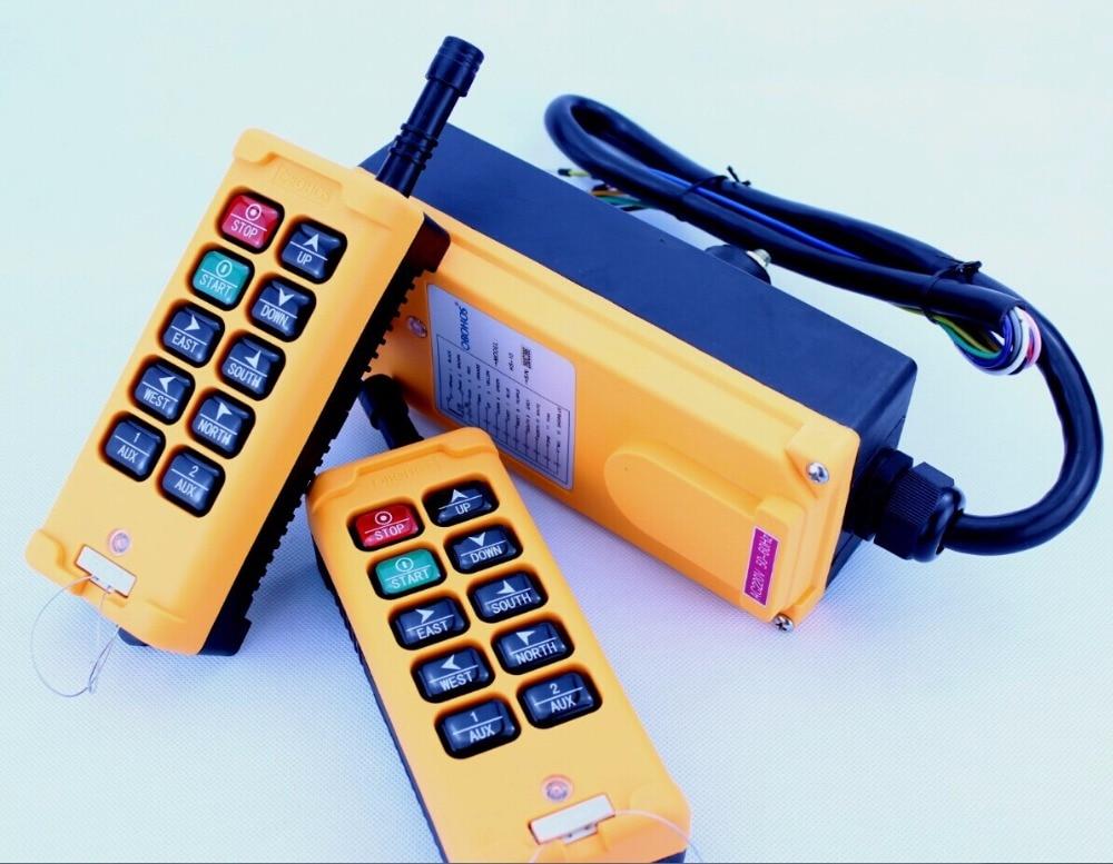 HS-10 AC220V 2 Transmitters 10 Channels Hoist Crane Radio Remote Control System new 2 transmitters
