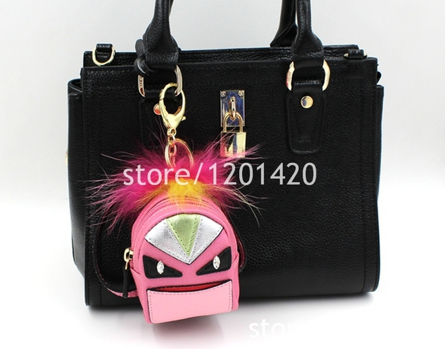 monster bag bugs women handbag charm pink mini packback keychain plush monster bugs pendant keychains leather charm