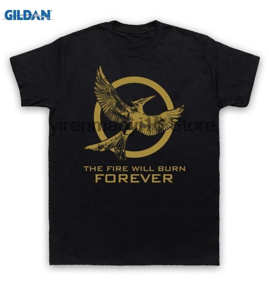 GILDAN 100% cotton O-neck printed T-shirt Hunger Games 2 T Shirt The Fire Will Burn Forever