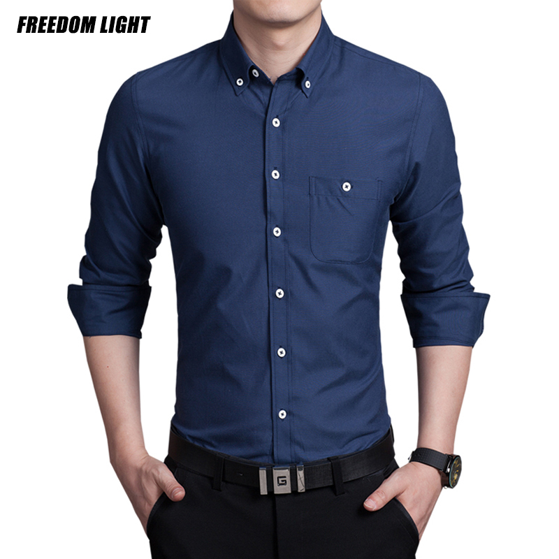 Top quality long sleeve men 39 s shirt slim fitness solid for Best men dress shirt