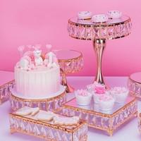 3pcs 8pcs gold CAKE STAND SET mirror Top Crystal Dessert Wedding Party Display Pedestal