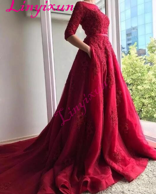 2018 Dark Red Lace Half Sleeves Evening Dress with Pocket Cover Back Sweep Train Long Bride