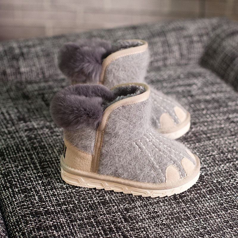 ULKNN 2018 Children Winter Ankle Boots Kids Cashmere Paw Baby Snow Boots  Girls Velvet Plush Boot Boys Warm School Shoes Toddle -in Boots from Mother    Kids ... 7abee60558f7