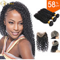 360 Lace Frontal with Bundle with Baby Hair Virgin Human Brazilian Deep Wave Curly 360 Frontal With Bundle Pre Plucked 360