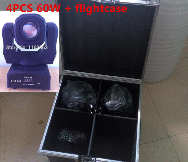 4PCS 60W + flightcase LED Spot Moving Head Light/USA Luminums 60W LED DJ Spot Light brighter than phlatlight 60w led chip module cst90 ssd90 60w led moving head lights source 6500k 3000 lumen