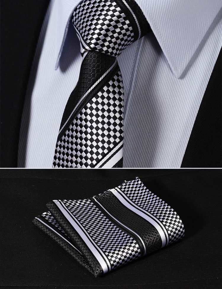 "TS4017L7S Black White Stripe 2.75"" 100%Silk  Woven Slim Skinny Narrow Men Tie Necktie Handkerchief Pocket Square Suit Set"