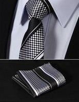 TS4017L7 Black White Stripe 2 75 100 Silk Jacquard Woven Slim Skinny Narrow Men Tie Necktie