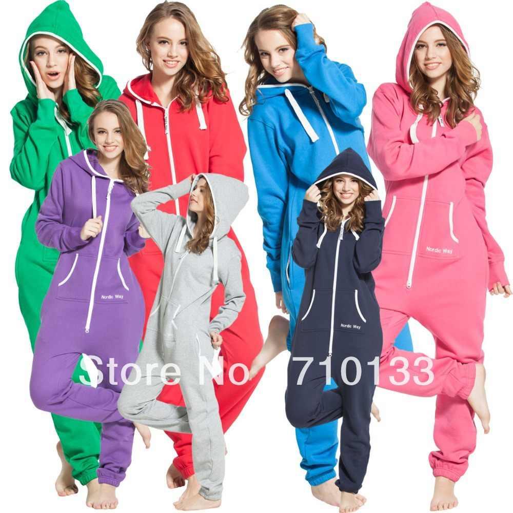 f0fcd908c9 Solid adult onesie all-in-one piece jumpsuit jump in fleece zip hoody by