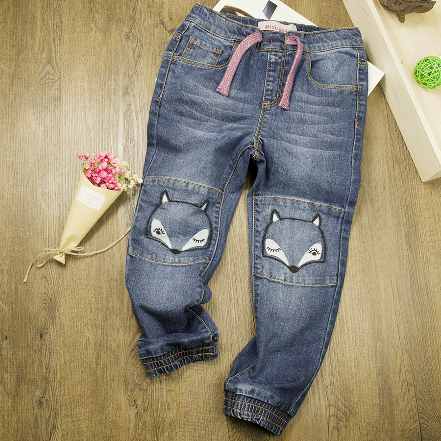 2017 New Designed Girls Cartoon Fox Jeans Kids Denim Jogger Pants