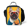 Animal lindo bulldog francés bolsas de almuerzo para los niños niños niños con aislamiento bolsas de almuerzo lonchera térmica lonchera bolsa termica