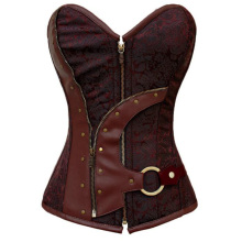 Factory Price Women Sexy Brown Zip Up Brocade Steampunk Overbust Corset Body Shaper Cincher Corsets And Bustier Corselet S-2XL