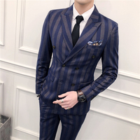 Slim Fit Double Breasted Suit 2018 Latest Coat Pant Designs Skinny Men Prom Stripe Suits Wedding Costume Homme Luxe 3 Piece