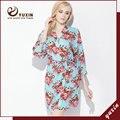 CR007 Algodão Floral Robe Floral Mulheres Nupcial Do Casamento da Flor de Cetim de Seda Kimono Robe Spa Senhora Noite Vestido Frete Grátis