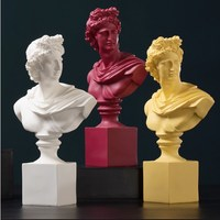 37cm Greek Mythology David Bust Statues Apollo Figure Art Sculpture Resin Art&Craft Home Decoration Accessories R936