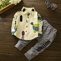 Одежда для новорожденных Наборы Для Мальчиков Девочек Наряды Хлопка Малышей Блузка и полосатые Брюки 2 Шт. Весна Осень Младенцев Одежда 9 12 18 24 М