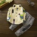 Conjuntos de Roupas Para Meninos Das Meninas do bebê Roupas de Algodão Crianças Blusa & Calças listradas 2 Pcs Primavera Outono Crianças Roupas 9 12 18 24 M