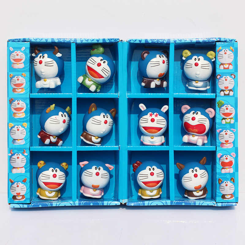 Doraemon Zodiac 12pcs/set Kids Toys PVC Figures For Birthday Gifts