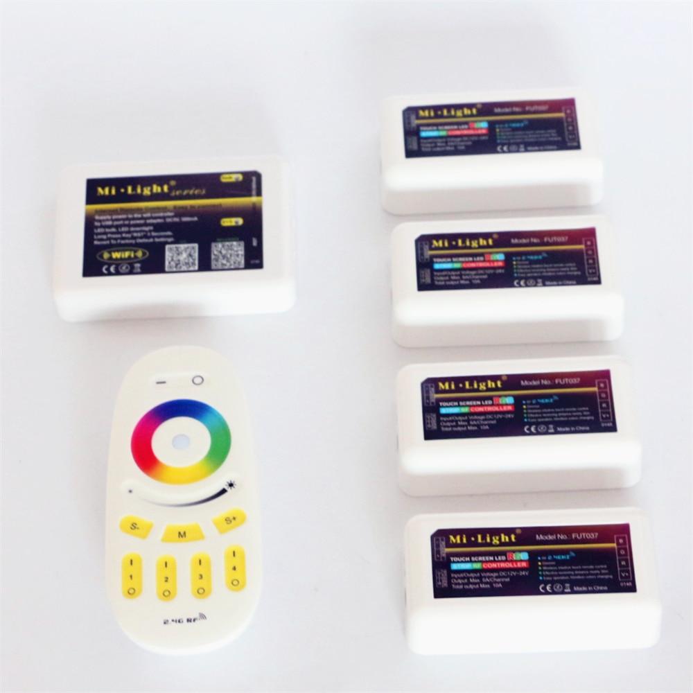 Mi Light DC12V 24V 2.4G Wireless RF RGB Led Remote + 4Pcs 3 Way Channel 4 Zones 18A Controller + 1Pcs 5V WiFi Controller Box