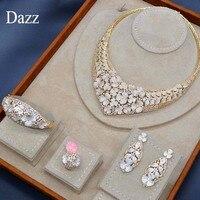 Dazz золото знаменитой марки Цвет цветочных растений выдалбливают Циркон Медь Большой кольцо, Браслет Ювелирный Комплект Для женщин Аксессу