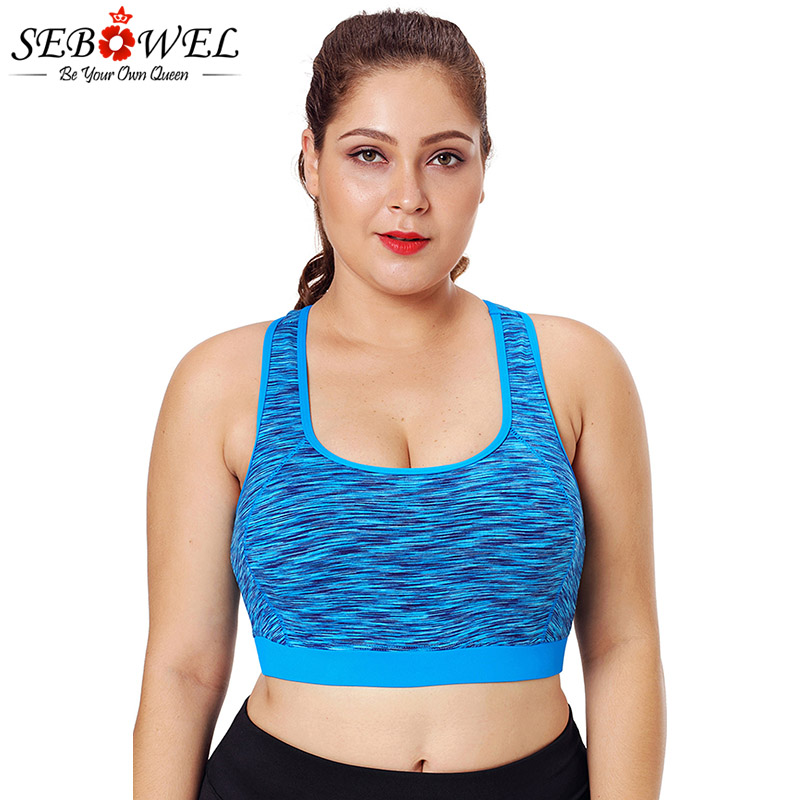 SEBOWEL Plus Size Mesh Sports Bra Top Fitness Tops Women Yoga Bra Tops High Support Shake Proof Stretch Brassiere Gym Sportswear plus size wirefree bra and mesh panel leggings
