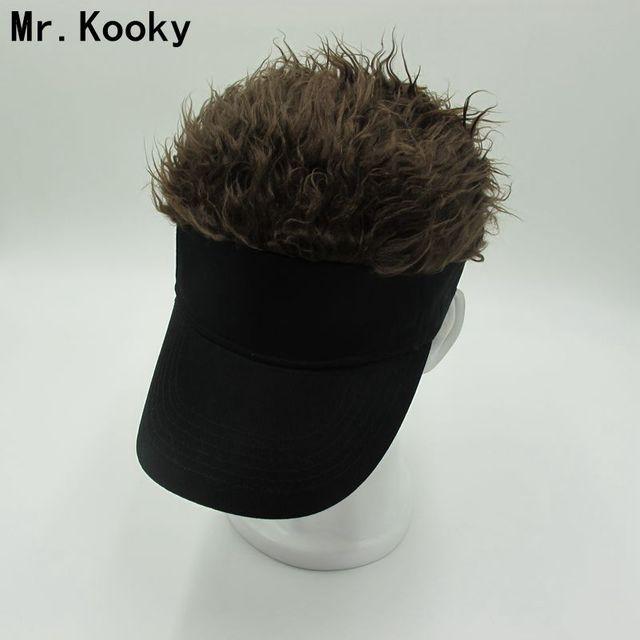 Mr.Kooky Hot New Fashion Novelty Baseball Cap Fake Flair Hair Sun Visor Hats  Men s Women s Toupee Wig Funny Hair Loss Cool Gifts d4ad2ab85d5